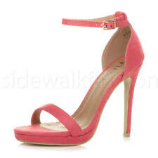 Womens ladies high heel barely there strappy party peep toe shoes sandals size