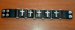 """CatalinaStamps: Silver Metal Crosses/Black Leather Wristband, 8 1/2"""" x 1"""", #F"""