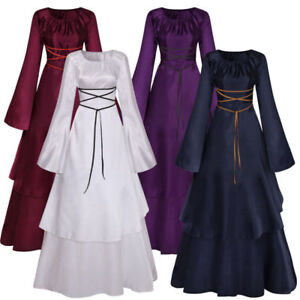Renaissance Medieval Women Fancy Dress Halloween Gothic Witch Costume Cosplay