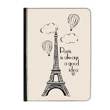 "Paris Quote Eiffel Tower Pink Universal 9-10.1"" Leather Flip Case Cover"