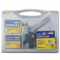 3 IN 1 STAPLE GUN HEAVY DUTY HAND UPHOLSTERY 600PC STAPLES STAPLER CABLE DIY NEW