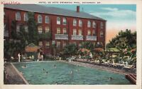 Postcard Hotel de Soto Swimming Pool Savannah GA Georgia
