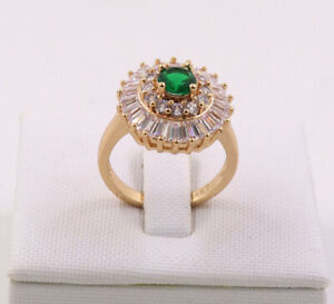New Pretty Jewellery Natural 1.58ct Emerald 14k Solid Yellow Gold Ring Size 8#