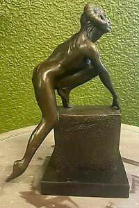 Bronze Demon Devil Woman , Bronze female Horned Demon on Marble base