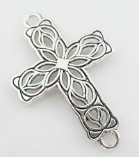 6pcs Tibetan Silver Cross Flower Pendants Connectors DIY 27.5x42mm 35063