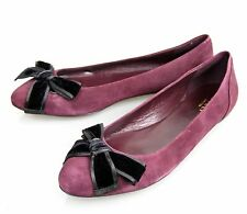 New Authentic Gucci Viola Suede Ballet Flats w/Bow,Carminio Red,41/11,304619