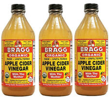 BRAGG ORGANIC APPLE CIDER VINEGAR  3 x16 oz. GLASS BOTTLES FRESH & SEALED