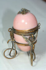 Antique c1800's~~ETUI PINK PERFUME OPALINE Glass EGG CASKET~~FRENCH PALAIS ROYAL