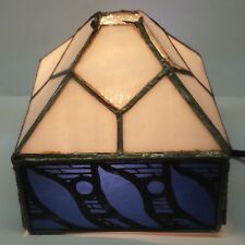 Vintage Handmade Square Blue White Copper Foil Stained Glass Lamp Shade