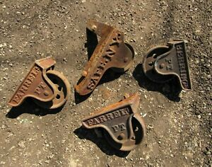 "RARE Set of 4 Antique 1800s Safe Wheels 6"" Cast Iron Wheels Herrings Farrels PT"