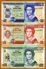 SET Belize, 2;5;10 Dollars, 2014-2016, QEII, P-66e-67f-68e, UNC