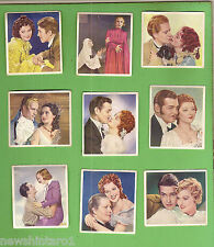 #D112. NINE  1939  FAMOUS  MOVIE  LOVE  SCENES  CIGARETTE CARDS