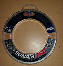 Tsunami Pro Grade 40 lb Pink 100% Fluorocarbon Fishing Leader 25 yds