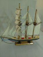 """VINTAGE WOOD MODEL HAND PAINTED RED & blue SAILBOAT - 13""""H x 12""""L CLOTH SAILS"""