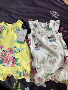 New Baby Girls Joules 2 X Romper Suits, Yellow & White Floral, Age 3-6 Months