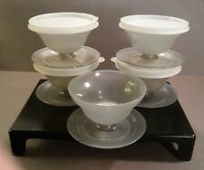 4 Tupperware Dessert Jello Ice Cream Cups Bowls Smokey Gray w/Lids Vintage