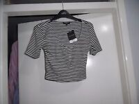 Topshop striped front half button fasten cami crop top Size UK 12 RRP-£16