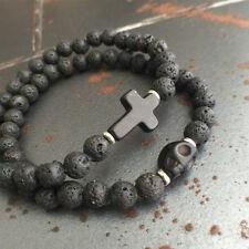 Men's 8MM Black Lava Stone Turquoise Skull & Cross Beaded Stretch Bracelet Boho