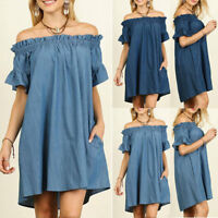 Women Off The Shoulder Bardot Denim Loose Mini Dress Tops Shirt Plus Size S-5XL