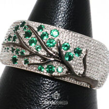 Lab Diamond Pave Emerald Carved Tree Ring Women Jewelry 14K White Gold Plated