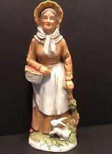 Vintage Homco Grandma With Rabbit And Basket Figurine