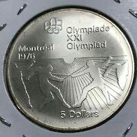 1976 CANADA $5 SILVER OLYMPICS BRILLIANT UNCIRCULATED CROWN