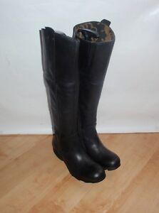 Fly London ladies TESS black leather knee length riding boots size UK 3 EU 36