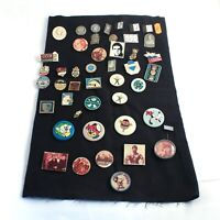 A LOT OF 46 BADGES PINBACKS PINS Soviet Union Russian USSR Communistic
