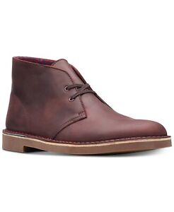 Clarks Men's Bushacre 2 Aubergine Leather Chukka Boot Burgundy Size 9.5 M