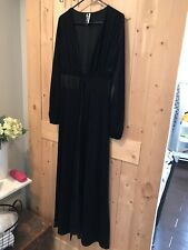 Forever 21 Striped Shadow Velvet Black Maxi Duster Cardigan L Large