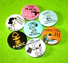 SET OF SNOOPY PEANUTS THE SMITHS INSPIRED BUTTON PIN BADGES