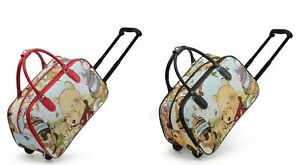 New Winnie The Pooch Print Wheels Travel Holdall Kids Holiday Bag Various Sizes