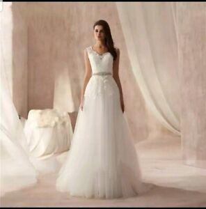 UK White Ivory Plus Size V Neck Sleeveless A Line Beach Wedding Dress Size 6-26
