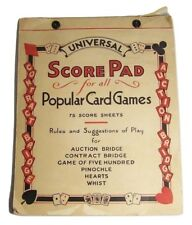 1930s Universal Card Game Score Pad Whist Bridge Pinochle Vintage Set Prop