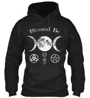 Blessed Be Wiccan Triple Moon And Symbol - Gildan Hoodie Sweatshirt