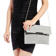 Womens Glitter Clutch Bag Sparkly Silver Evening Bridal Prom Party Handbag Large