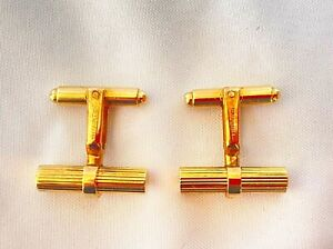 MAGNIFICENT TIFFANY & CO PAIR OF 14K YELLOW GOLD CUFFLINKS WITH BAGS