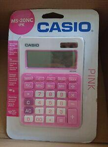 CASIO MS-20NC-PK Pink Desktop Dual Power Source BASIC Solar Calculator FASTP&P