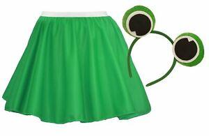 Ladies Jeremy Fisher Skater Skirt & Frog Headband Fancy Dress World Book Day