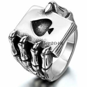Gothic Biker Stainless Steel Mens Poker Spade Hand Skull Skeleton Claw Band Ring