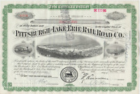 Vintage Pittsburgh Lake Erie Railroad Co. Stock Certificate cancelled 1941
