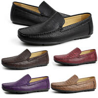 Mens NEW Slip On Crocodile Loafers Driving Shoes Casual Smart Moccasin UK Size