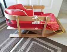 """27"""" Toddler Snow Sled;Baby Body Pad Insert;""""Torpedo"""" Wooden;Made  in Canada;1988"""