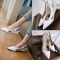 Fashion Womens Wedge Heels Pumps Pointy Toes Slip On Slingback Shoes US3.5-11.5