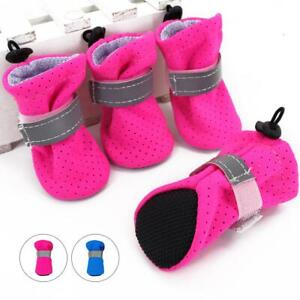 4pcs Dog Anti-slip Shoes Reflective Mesh Padded Boots for Pet Snow Rain Booties
