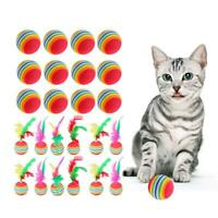 12pcs Cat Kitten Lovely Rainbow Colored Toy Ball with Feather Activity Play Toys