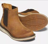 New Keen BAILEY CHELSEA Boots Cognac Brown Leather Nubuck Distressed 7.5 Eu 38