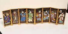 Rare Miniature 8 Panel Cloisonne Enamel Screen Each Signed