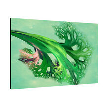 120x80cm Picture Paul Sinus - Enigma Series on Canvas Timeless Green Mint Pink