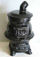 Pot Belly Stove Black Ceramic Cooky COOKIE JAR Vintage Kitchen cooking FREE SH